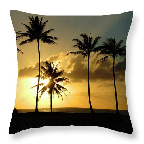 Hawaii Throw Pillow featuring the pastel Sunset On Molokai Hawaii by Bob Christopher