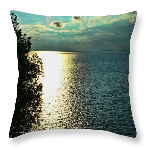 Sunset Throw Pillow featuring the photograph Sunset On The Bay Of Green Bay Wi by Tommy Anderson
