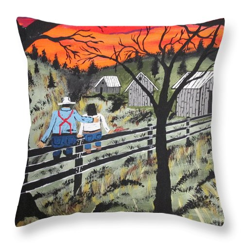 Beautiful Sky Throw Pillow featuring the painting Sunset On The Fence by Jeffrey Koss