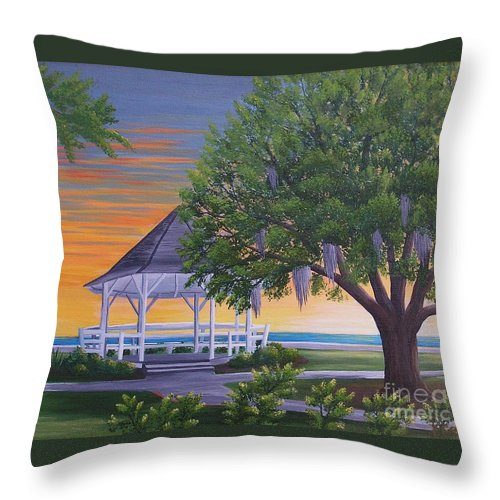 Gazeebo Throw Pillow featuring the painting Sunset On The Gazeebo by Valerie Carpenter