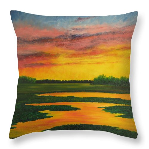 Water Throw Pillow featuring the painting Sunset On The Marsh by Darla Brock