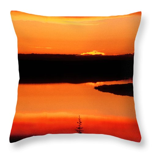 Canada Landscape Throw Pillow featuring the photograph Sunset On Whitefish Lake Norhwest Territories Canada by Dave Welling