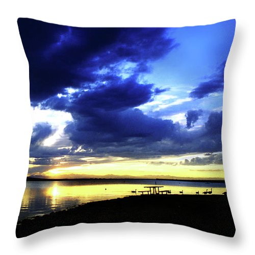 Sunset Throw Pillow featuring the photograph Sunset Over Aurora II by Ric Bascobert