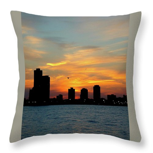 Sky Throw Pillow featuring the photograph Sunset Over Chicago 0349 by Guy Whiteley