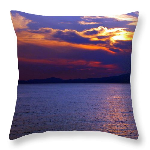Sunset Throw Pillow featuring the photograph Sunset Over Korcula by Laurel Talabere