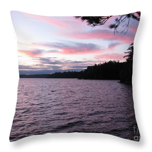 Blue Throw Pillow featuring the photograph Sunset Over Lake Catchacoma 2 by Robert Burns