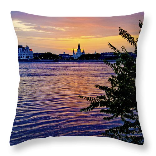 New Orleans Throw Pillow featuring the photograph Sunset Over New Orleans 1 by Her Arts Desire