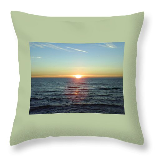 Sunset Over Sea Throw Pillow featuring the photograph Sunset Over Sea by Gordon Auld