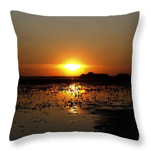 Sunset Throw Pillow featuring the photograph Sunset Over The Lake 3 by Loic GIRAUD