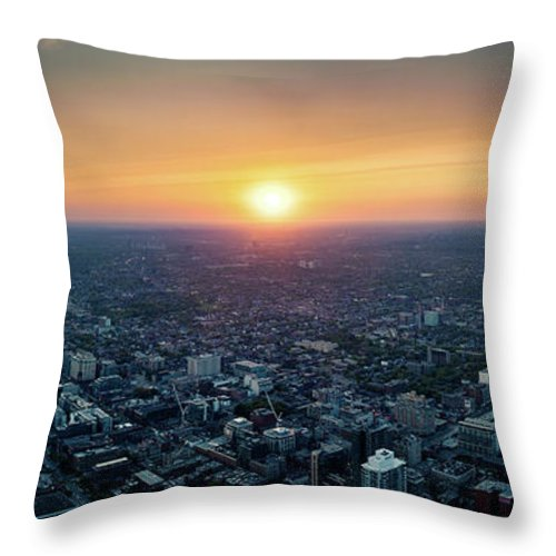 Downtown District Throw Pillow featuring the photograph Sunset Over Toronto Downtown City by D3sign