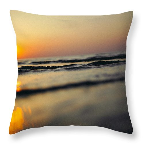 Sunset Throw Pillow featuring the photograph Sunset Over Waves by Olivier De Rycke