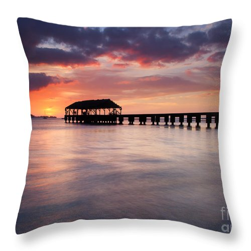 Pier Throw Pillow featuring the photograph Sunset Pier by Mike Dawson