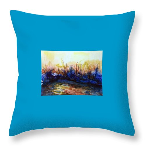 Landscape Throw Pillow featuring the painting Sunset Reflections by Anna Duyunova