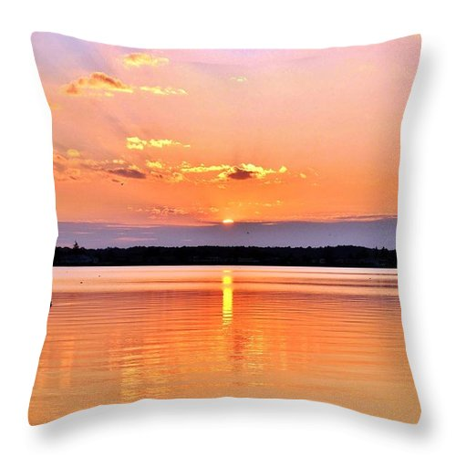 Bay Throw Pillow featuring the photograph Sunset Reflections by Kim Bemis