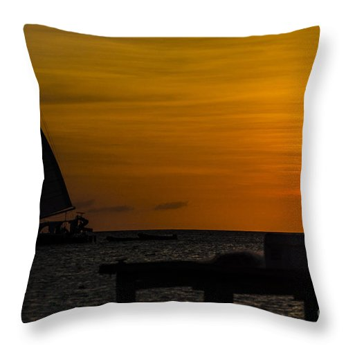 Sunset Throw Pillow featuring the photograph Sunset Sails by Judy Wolinsky