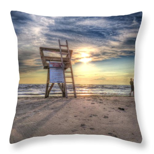Life Guard Stand Throw Pillow featuring the photograph Sunset Stroll by Cindy Haggerty
