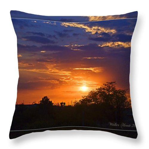 Sunset Throw Pillow featuring the photograph Sunset by Walter Herrit