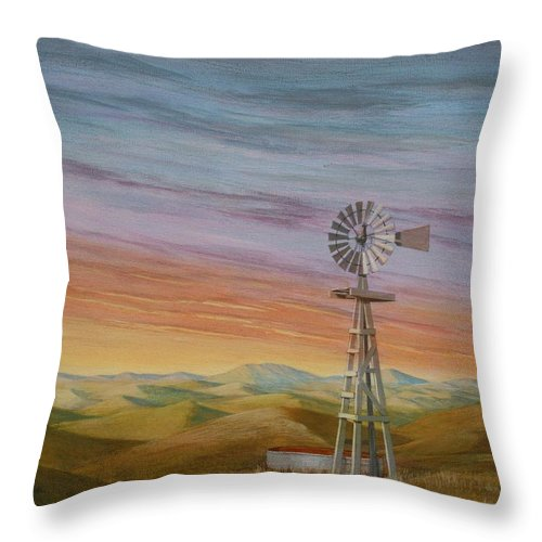 High Plains Throw Pillow featuring the painting Windmill Sunset by J W Kelly