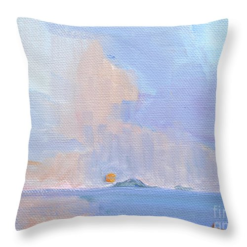 Sunset With Rain Throw Pillow featuring the painting Sunset With Rain by Candace Lovely