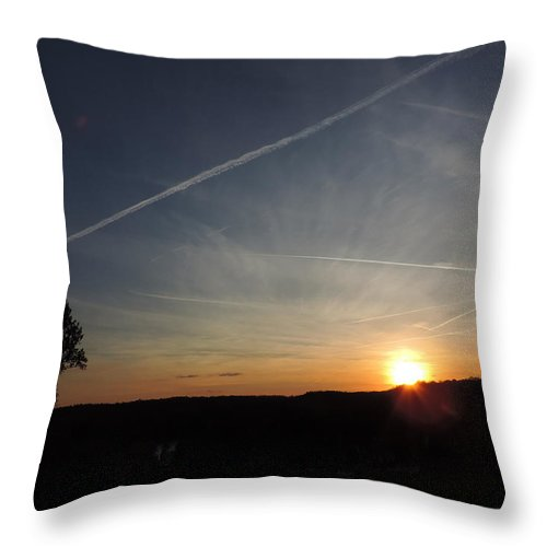 Dusk Throw Pillow featuring the photograph Sunset With Trees 2 by Cityscape Photography