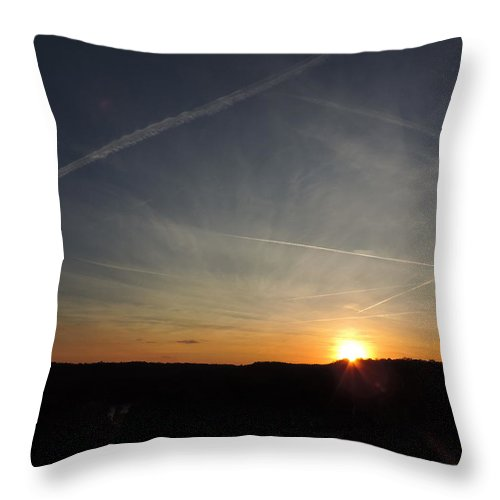 Dusk Throw Pillow featuring the photograph Sunset With Trees 3 by Cityscape Photography