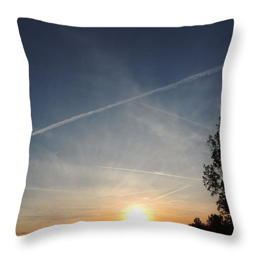 Dusk Throw Pillow featuring the photograph Sunset With Trees by Cityscape Photography