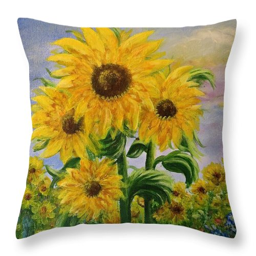 Sunflowers Throw Pillow featuring the painting Sunshine by Christine Cullen-Reed