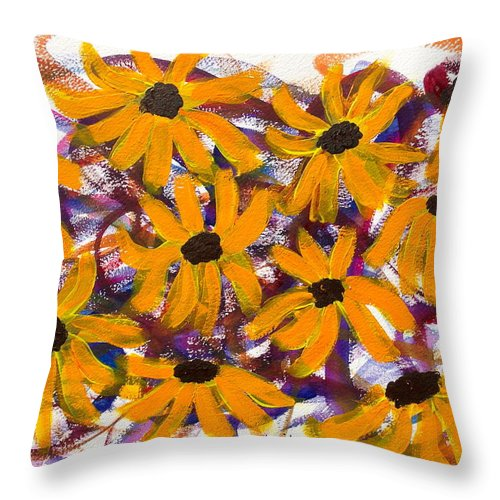 Flowers Throw Pillow featuring the painting Happy by Jennifer Marie Napolitano