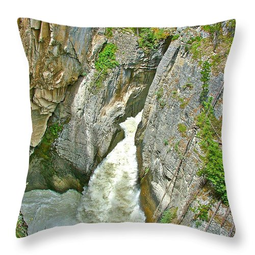Sunwapta Falls Along Icefields Parkway In Alberta Throw Pillow featuring the photograph Sunwapta Falls Along Icefields Parkway In Alberta by Ruth Hager