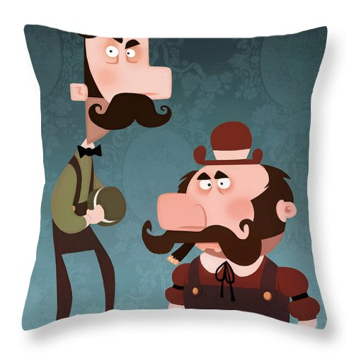 Video Game Throw Pillow featuring the painting Super Bros. by Adam Ford