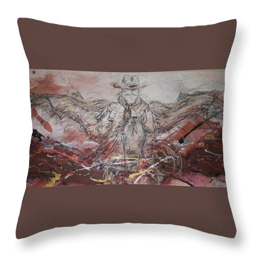 Western Abstract Throw Pillow featuring the painting Super Cowboy by Stacey Dykeman