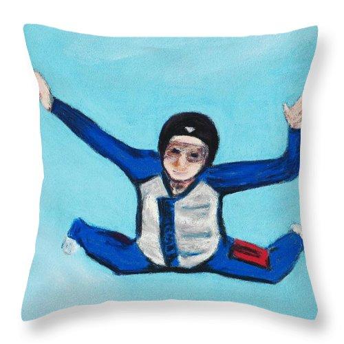 Position Throw Pillow featuring the pastel Super Kid by Anastasiya Malakhova