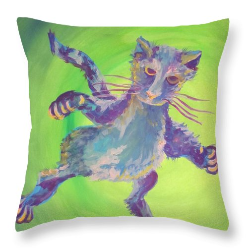 Cat Throw Pillow featuring the painting Super Kitty by Cherie Sexsmith