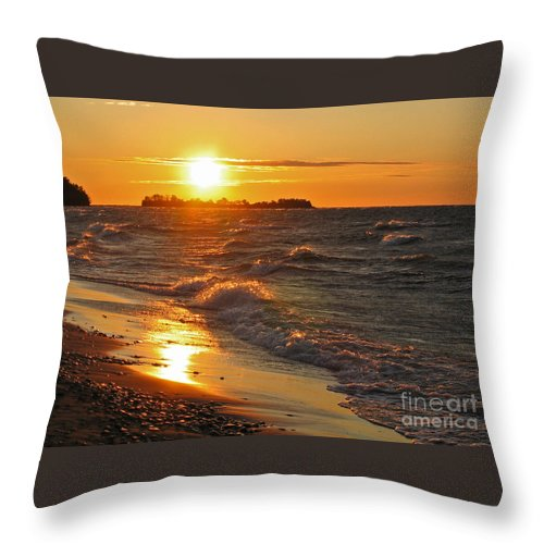 Sunset Throw Pillow featuring the photograph Superior Sunset by Ann Horn