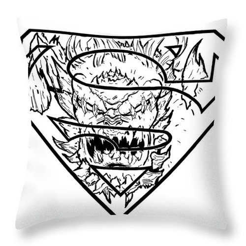 Justin Moore Throw Pillow featuring the drawing Superman And Doomsday Pen And Ink by Justin Moore