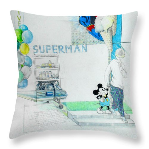 Superman Throw Pillow featuring the drawing Superman by Lucia Hoogervorst