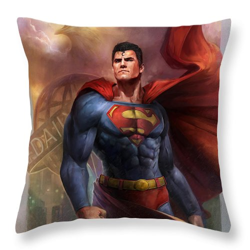 Superman Throw Pillow featuring the digital art Man of Steel by Steve Goad