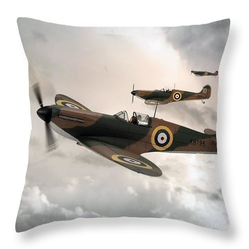 Supermarine Spitfire Mk I Throw Pillow featuring the digital art Supermarine Spitfire Mk I by J Biggadike