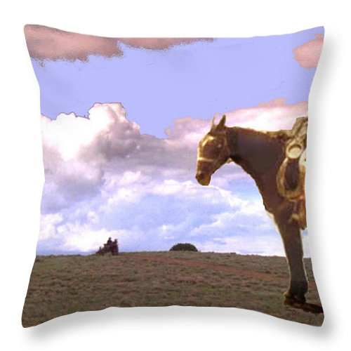 Supply Wagon Coming Throw Pillow featuring the digital art Supply Wagon Coming by Seth Weaver