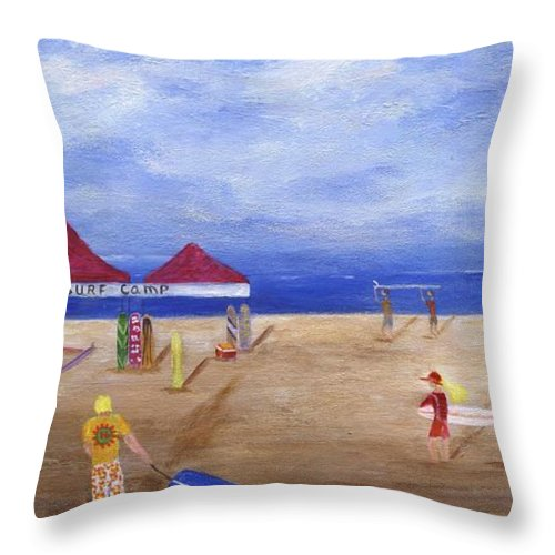 Sea Throw Pillow featuring the painting Surf Camp by Jamie Frier