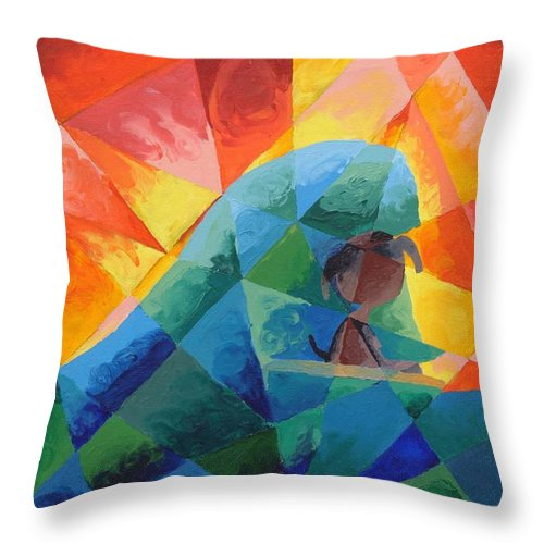 Surfing Throw Pillow featuring the painting Surf Dog by Lola Connelly