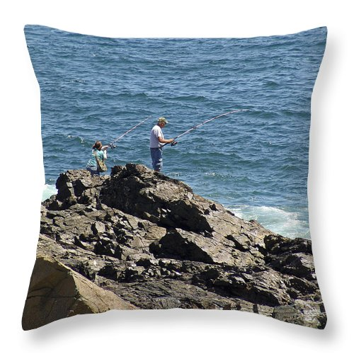 Fishing Throw Pillow featuring the photograph Surf Fishing by Eric Swan