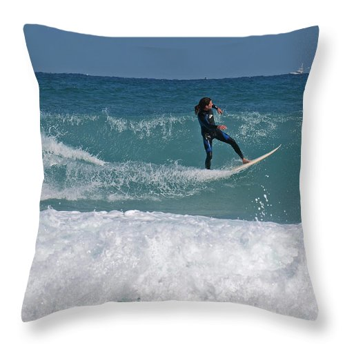 Surfer Throw Pillow featuring the photograph Surf Lx by Tony Tribou