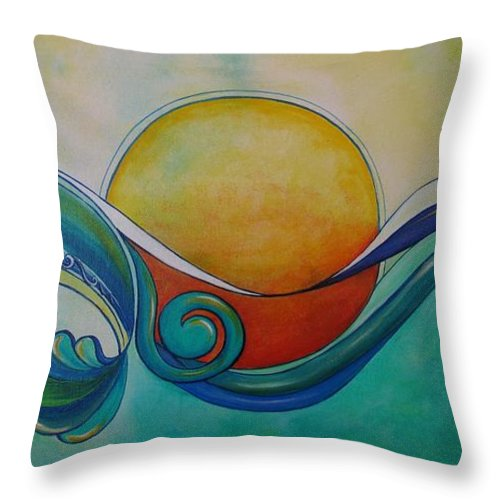 Reina Cottier Throw Pillow featuring the painting Surf Sun Spirit by Reina Cottier