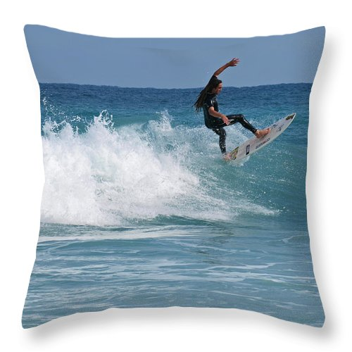 Surfer Throw Pillow featuring the photograph surf Vll by Tony Tribou