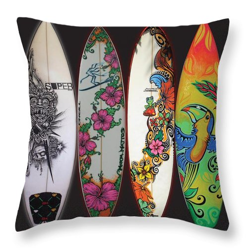 Surf Throw Pillow featuring the mixed media Surfboards Art Jungle2 by MarceloSouza TattoosnGraphx