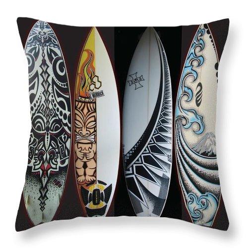 Surf Throw Pillow featuring the mixed media Surfboards Art by MarceloSouza TattoosnGraphx