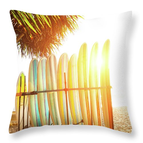 Recreational Pursuit Throw Pillow featuring the photograph Surfboards At Ocean Beach by Arand