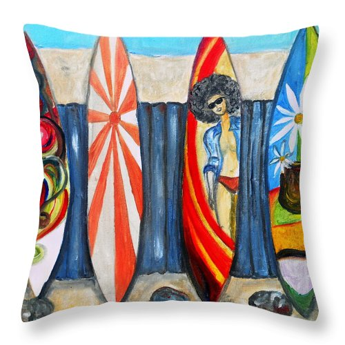 Huntington Throw Pillow featuring the painting Surfboards by Pristine Cartera Turkus