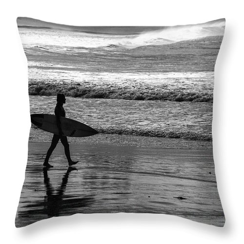 Surfer Throw Pillow featuring the photograph Surfer at Palm Beach by Sheila Smart Fine Art Photography